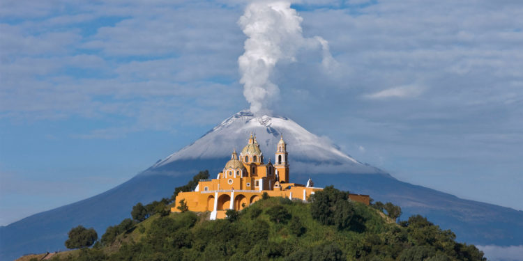 Cholula Pyramid with Church and Popocatepetl in the back