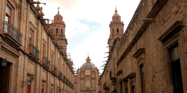 Morelia City street with Cathedral
