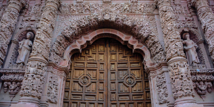 Zacatecas Cathedral door in Mexico