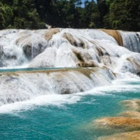 Mexico Chiapas Agua Azul waterfall Contours Travel