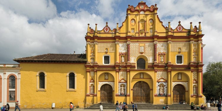 yellow church in San Cristobal de las Casas, Chiapas Mexico