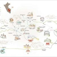 Mountain Lodges Salkantay Lodge to Lodge trek Map Contours Travel