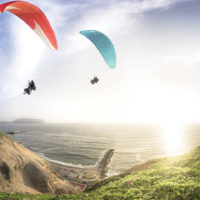 Paragliding in the coastline Lima Peru Contours Travel