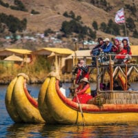 Uros reed island on Lake Titicaca, Peru