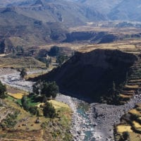 Peru Colca Canyon River Contours Travel